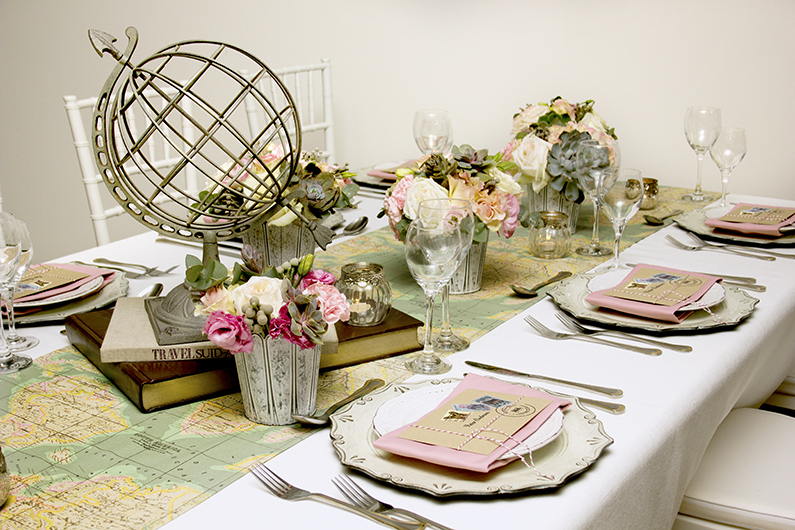 VINTAGE TRAVEL THEME WEDDING TABLE DESIGN